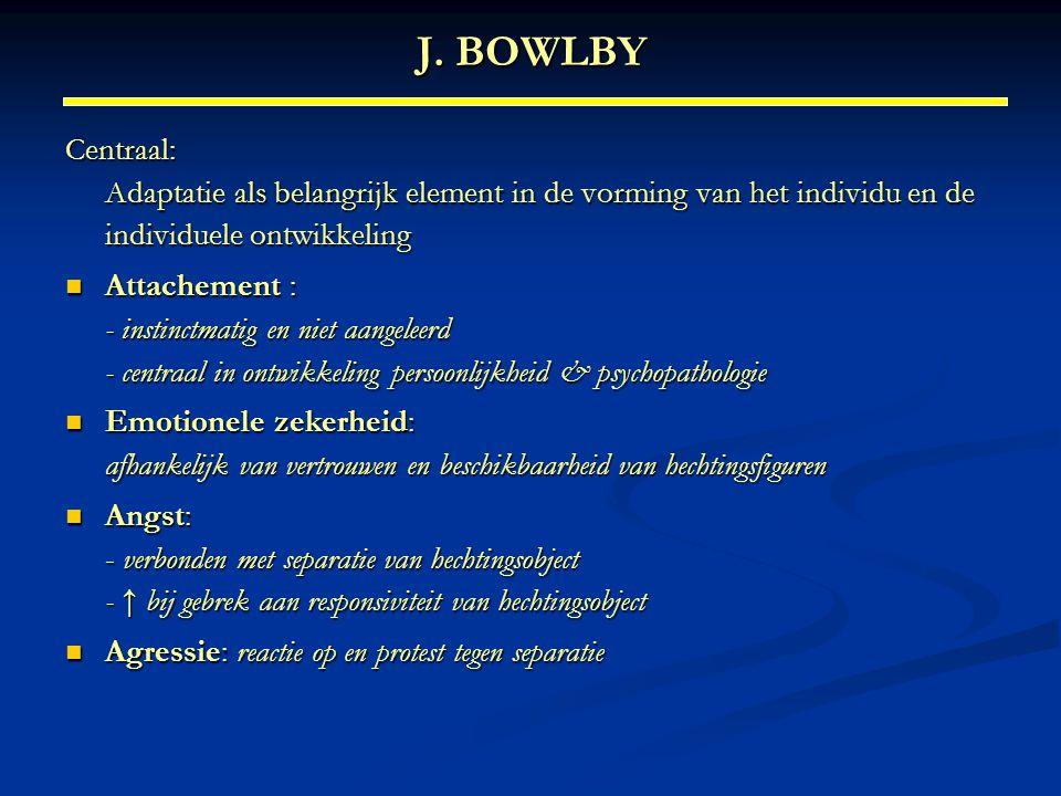 J. BOWLBY Centraal: Adaptatie als belangrijk element in de vorming van het individu en de individuele ontwikkeling.