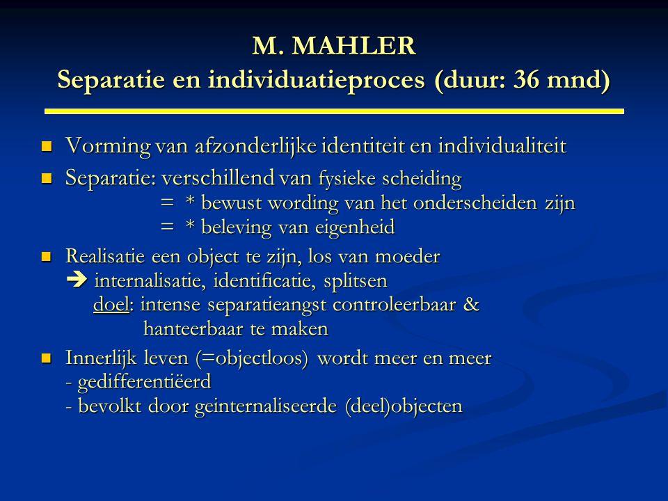 M. MAHLER Separatie en individuatieproces (duur: 36 mnd)