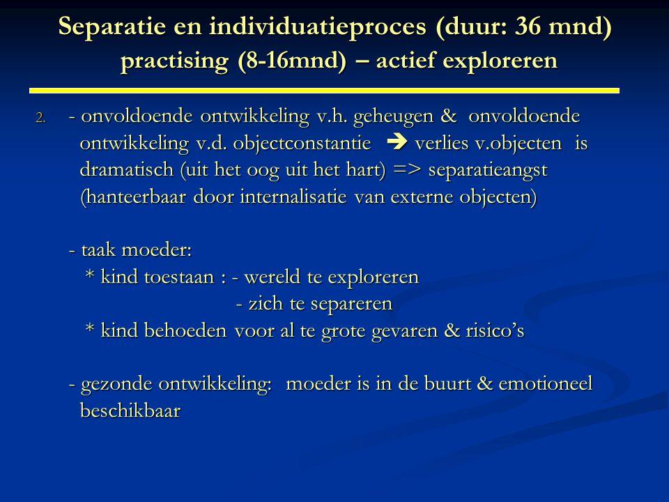 Separatie en individuatieproces (duur: 36 mnd) practising (8-16mnd) – actief exploreren