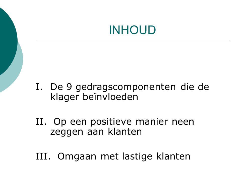 INHOUD I. De 9 gedragscomponenten die de klager beïnvloeden