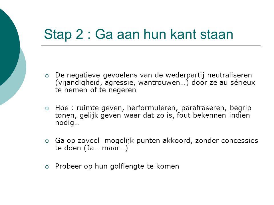 Stap 2 : Ga aan hun kant staan