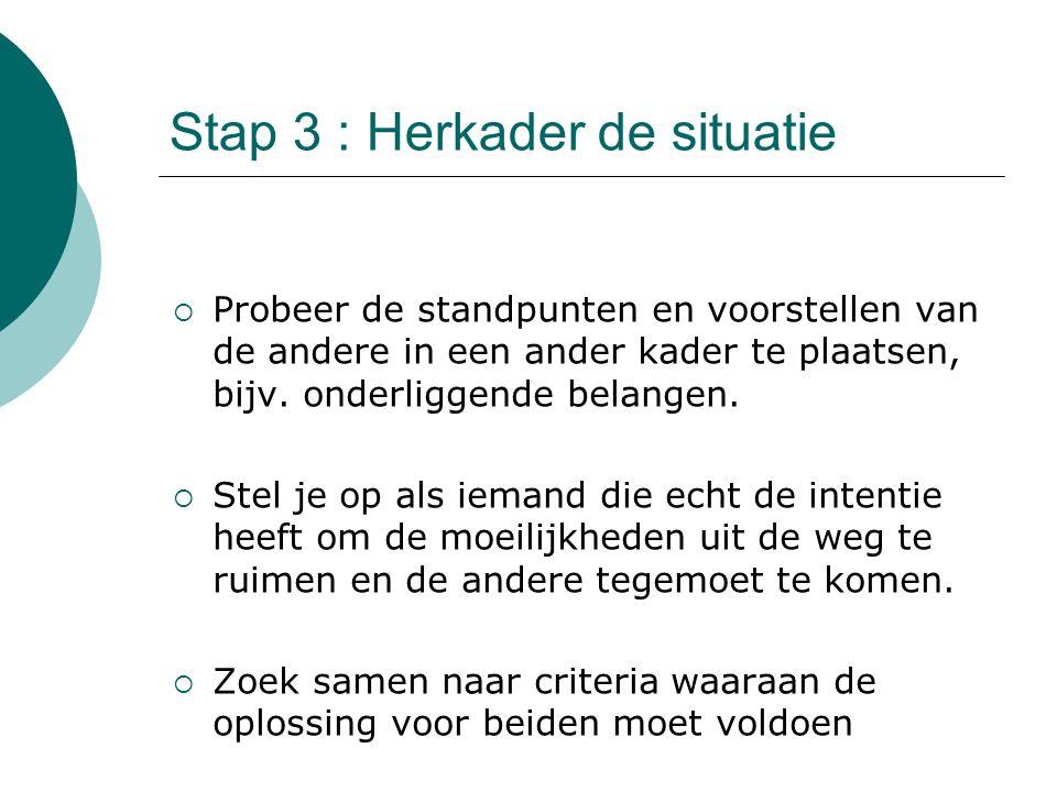 Stap 3 : Herkader de situatie