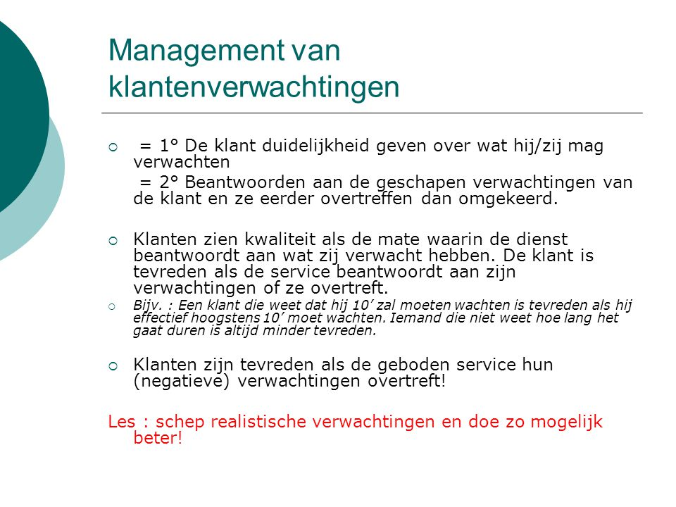 Management van klantenverwachtingen