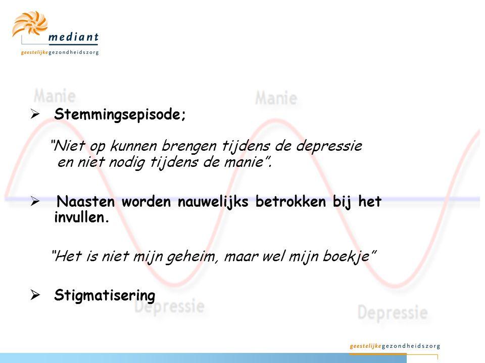 Stemmingsepisode; Niet op kunnen brengen tijdens de depressie en niet nodig tijdens de manie .