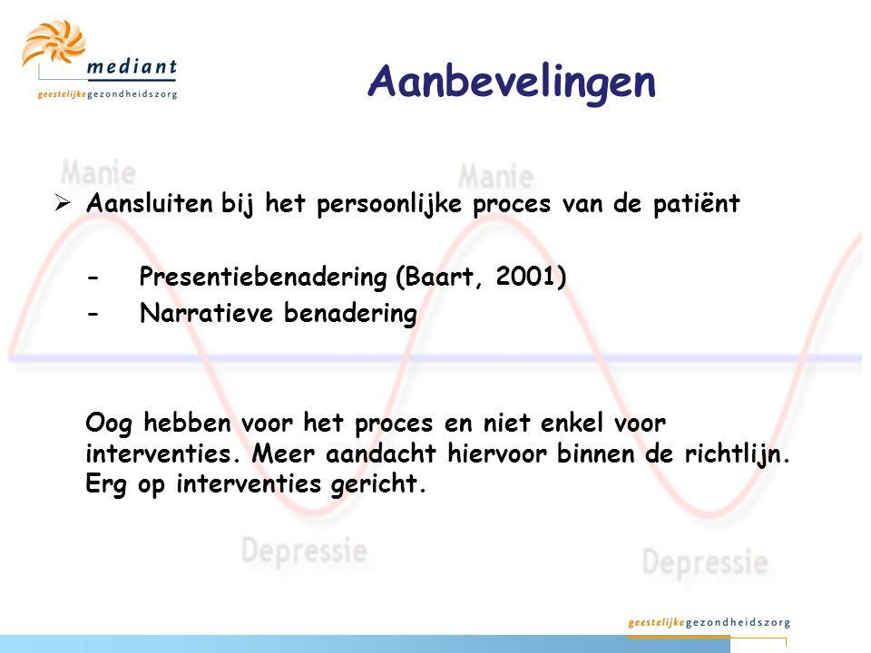Aanbevelingen Aansluiten bij het persoonlijke proces van de patiënt