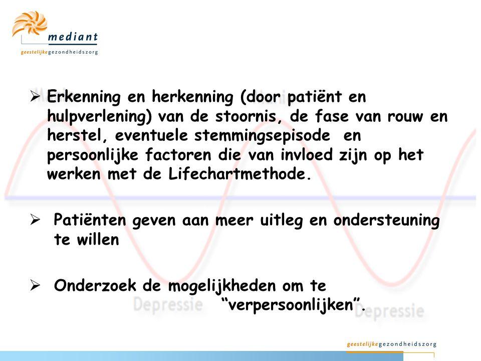 Erkenning en herkenning (door patiënt en hulpverlening) van de stoornis, de fase van rouw en herstel, eventuele stemmingsepisode en persoonlijke factoren die van invloed zijn op het werken met de Lifechartmethode.