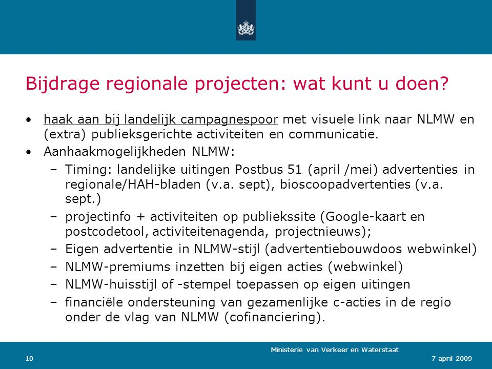 Bijdrage regionale projecten: wat kunt u doen