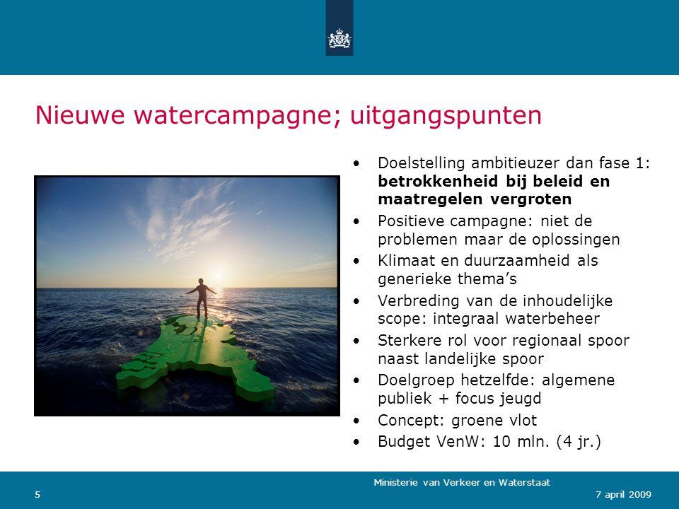 Nieuwe watercampagne; uitgangspunten