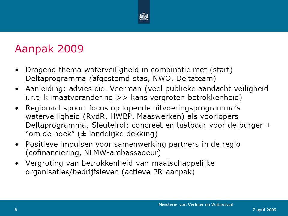 Aanpak 2009 Dragend thema waterveiligheid in combinatie met (start) Deltaprogramma (afgestemd stas, NWO, Deltateam)