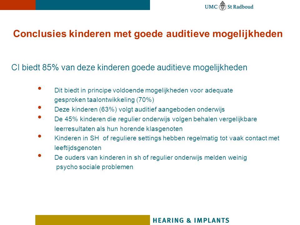 Conclusies kinderen met goede auditieve mogelijkheden