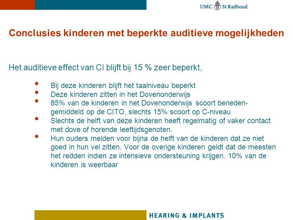 Conclusies kinderen met beperkte auditieve mogelijkheden