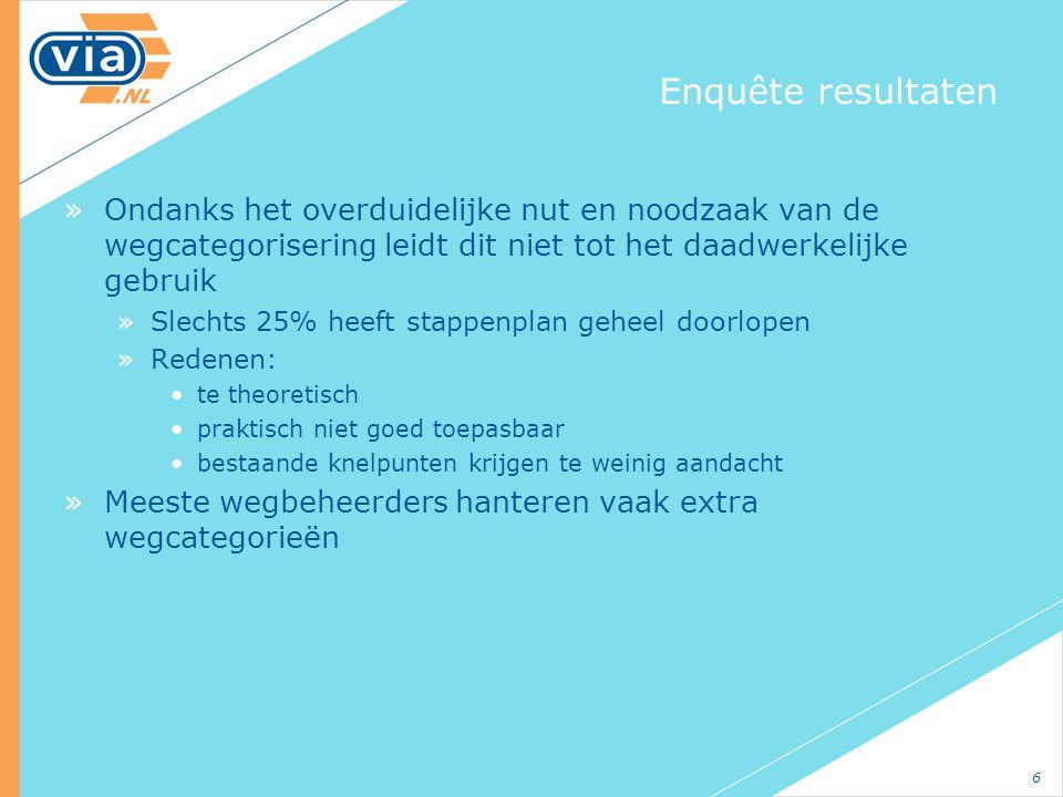 Enquête resultaten Ondanks het overduidelijke nut en noodzaak van de wegcategorisering leidt dit niet tot het daadwerkelijke gebruik.