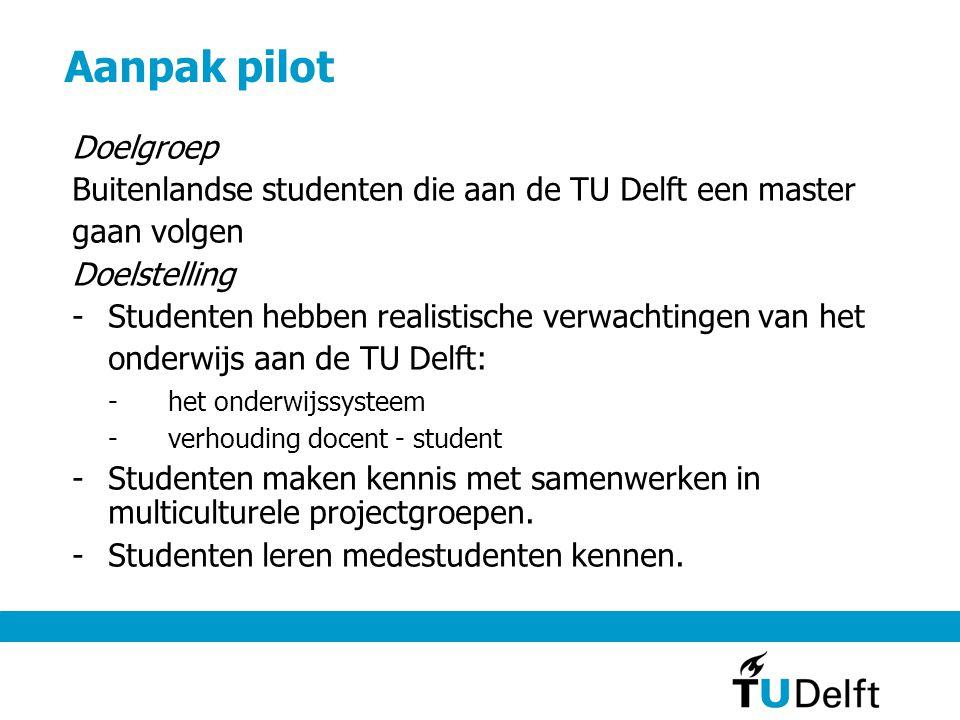 Aanpak pilot Doelgroep