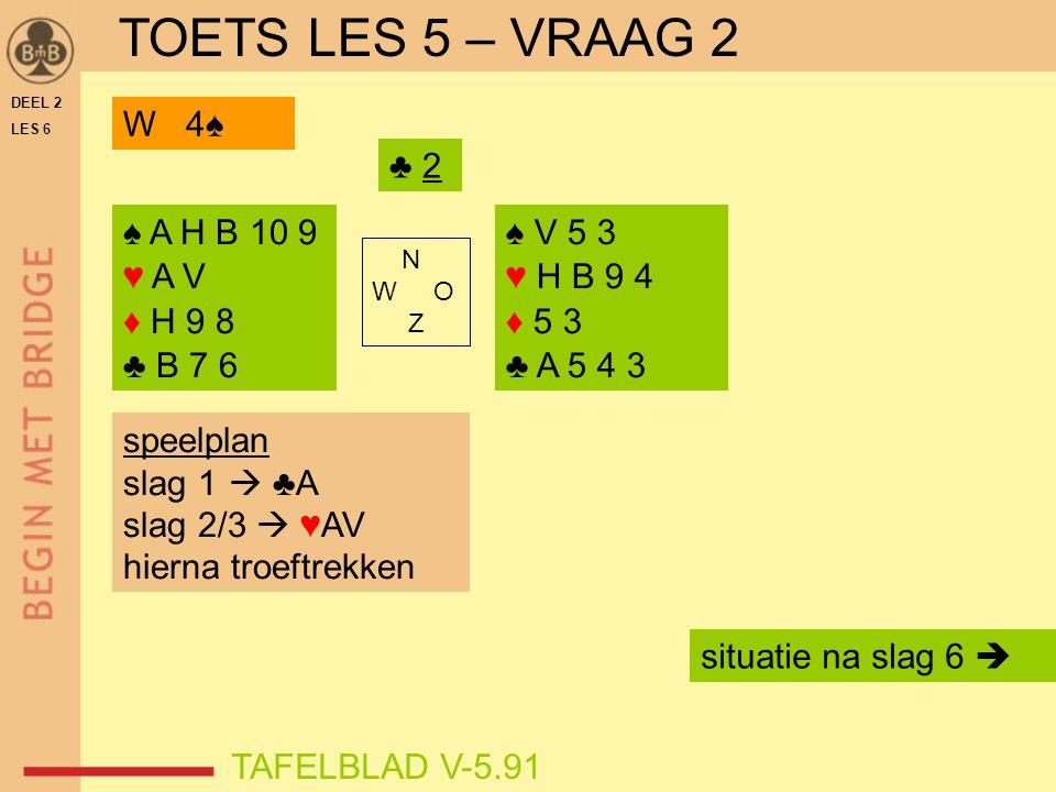 TOETS LES 5 – VRAAG 2 W 4♠ ♣ 2 ♠ A H B 10 9 ♥ A V ♦ H 9 8 ♣ B 7 6