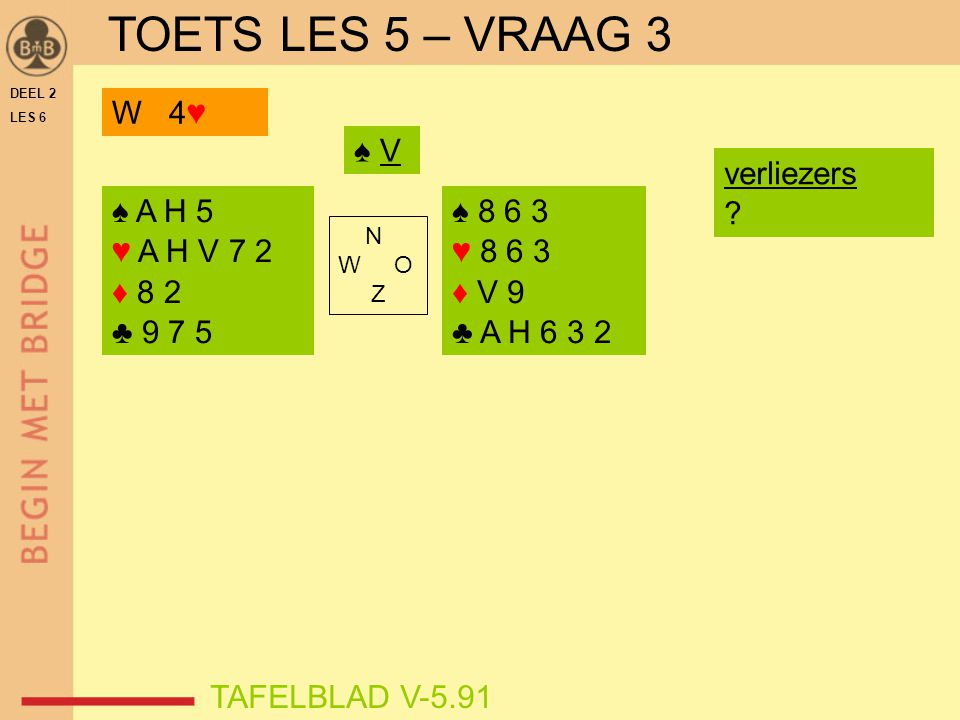 TOETS LES 5 – VRAAG 3 W 4♥ ♠ V verliezers ♠ A H 5 ♥ A H V 7 2 ♦ 8 2