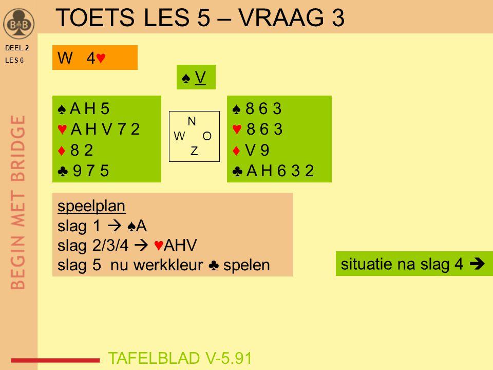 TOETS LES 5 – VRAAG 3 W 4♥ ♠ V ♠ A H 5 ♥ A H V 7 2 ♦ 8 2 ♣ 9 7 5