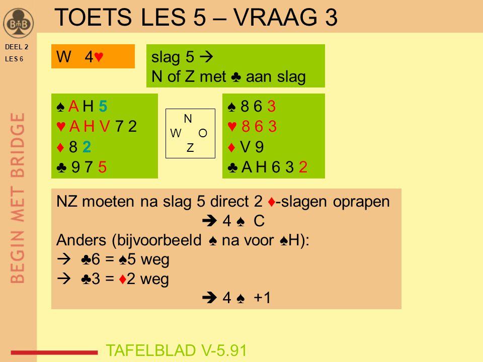 TOETS LES 5 – VRAAG 3 W 4♥ slag 5  N of Z met ♣ aan slag ♠ A H 5