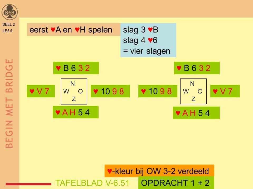♥-kleur bij OW 3-2 verdeeld TAFELBLAD V-6.51 OPDRACHT 1 + 2