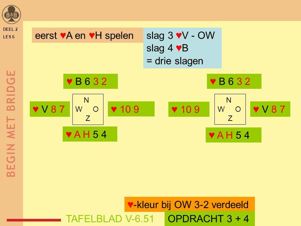 ♥-kleur bij OW 3-2 verdeeld TAFELBLAD V-6.51 OPDRACHT 3 + 4