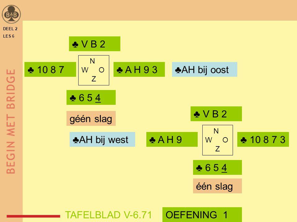 ♣ V B 2 ♣ 10 8 7 ♣ A H 9 3 ♣AH bij oost ♣ 6 5 4 ♣ V B 2 géén slag
