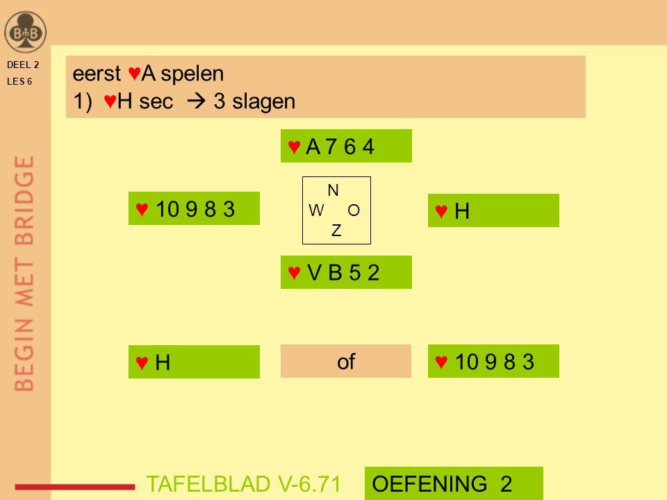 eerst ♥A spelen ♥H sec  3 slagen ♥ A 7 6 4 ♥ 10 9 8 3 ♥ H ♥ V B 5 2