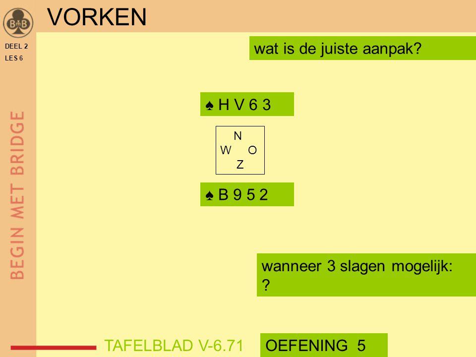 VORKEN wat is de juiste aanpak ♠ H V 6 3 ♠ B 9 5 2