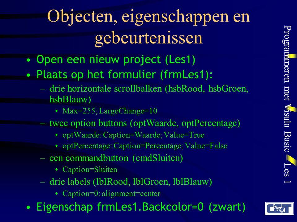Objecten, eigenschappen en gebeurtenissen