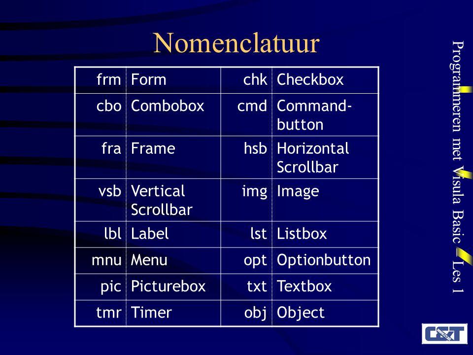 Nomenclatuur frm Form chk Checkbox cbo Combobox cmd Command-button fra