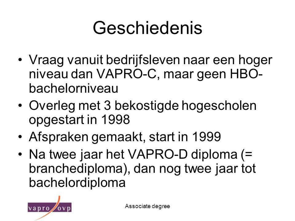Geschiedenis Vraag vanuit bedrijfsleven naar een hoger niveau dan VAPRO-C, maar geen HBO-bachelorniveau.