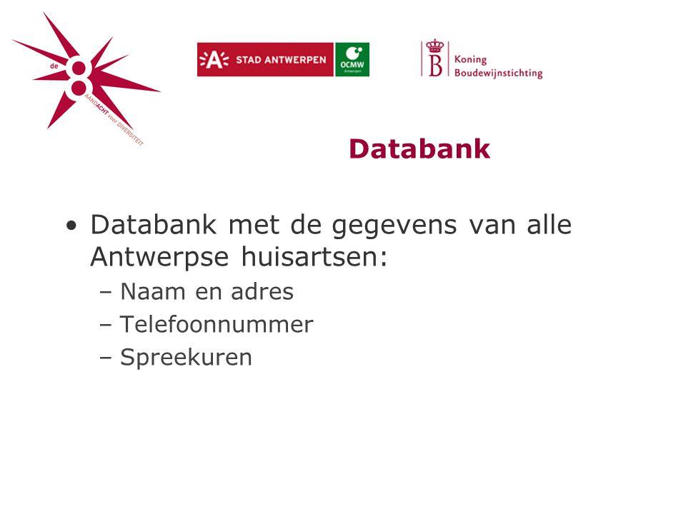 Databank met de gegevens van alle Antwerpse huisartsen: