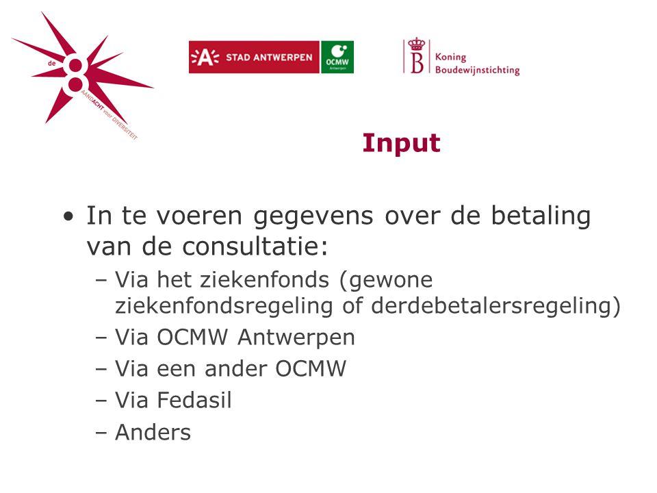 In te voeren gegevens over de betaling van de consultatie: