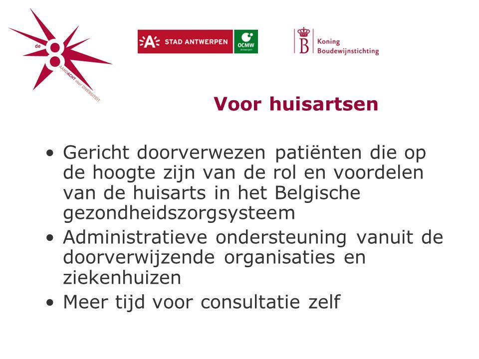 Voor huisartsen Gericht doorverwezen patiënten die op de hoogte zijn van de rol en voordelen van de huisarts in het Belgische gezondheidszorgsysteem.