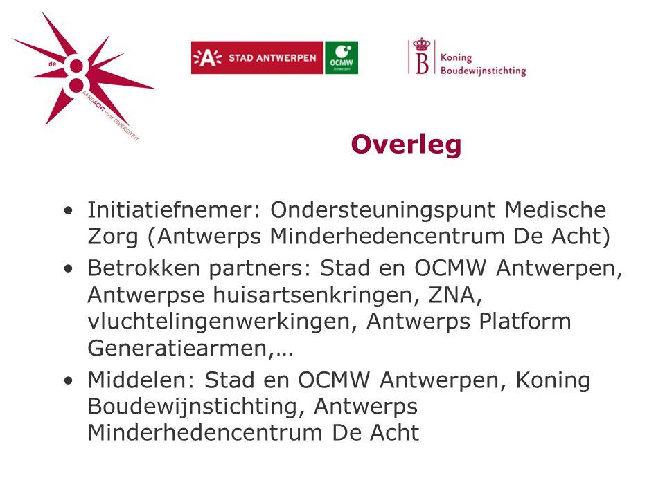 Overleg Initiatiefnemer: Ondersteuningspunt Medische Zorg (Antwerps Minderhedencentrum De Acht)