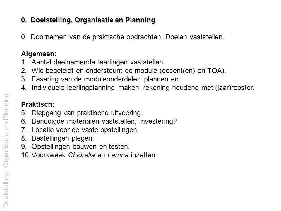 0. Doelstelling, Organisatie en Planning