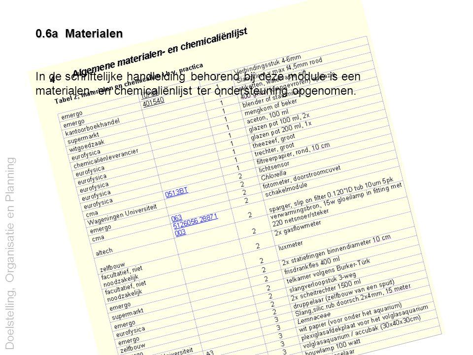 0.6a Materialen In de schriftelijke handleiding behorend bij deze module is een. materialen- en chemicaliënlijst ter ondersteuning opgenomen.