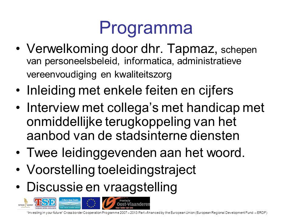 Programma Verwelkoming door dhr. Tapmaz, schepen van personeelsbeleid, informatica, administratieve vereenvoudiging en kwaliteitszorg.