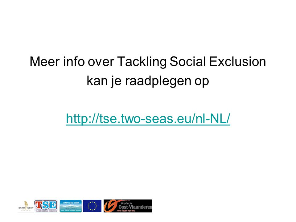 Meer info over Tackling Social Exclusion