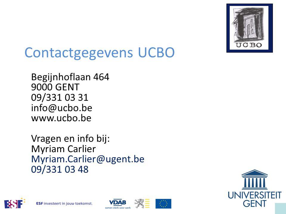 Contactgegevens UCBO Begijnhoflaan 464 9000 GENT 09/331 03 31
