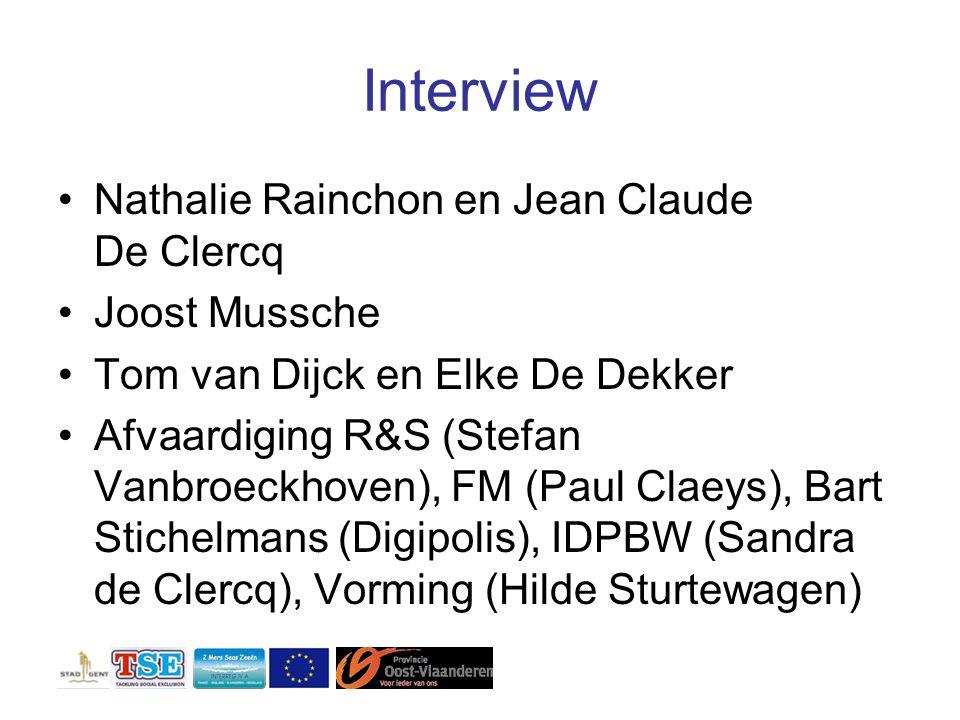 Interview Nathalie Rainchon en Jean Claude De Clercq Joost Mussche