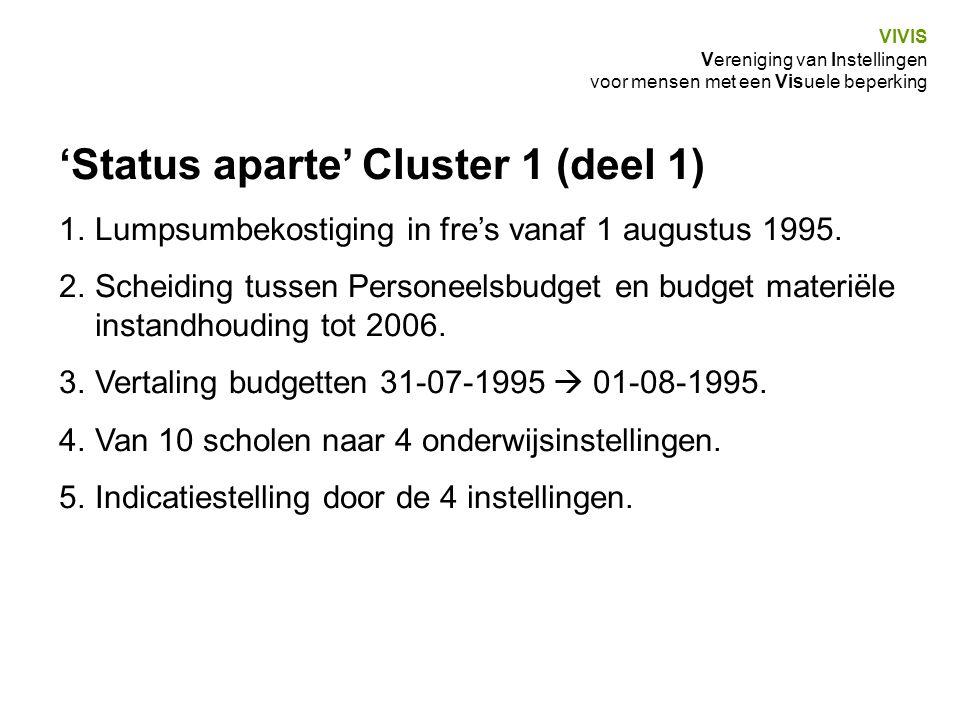 'Status aparte' Cluster 1 (deel 1)