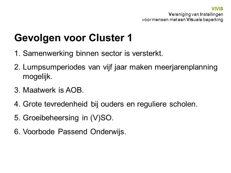 Gevolgen voor Cluster 1 Samenwerking binnen sector is versterkt.