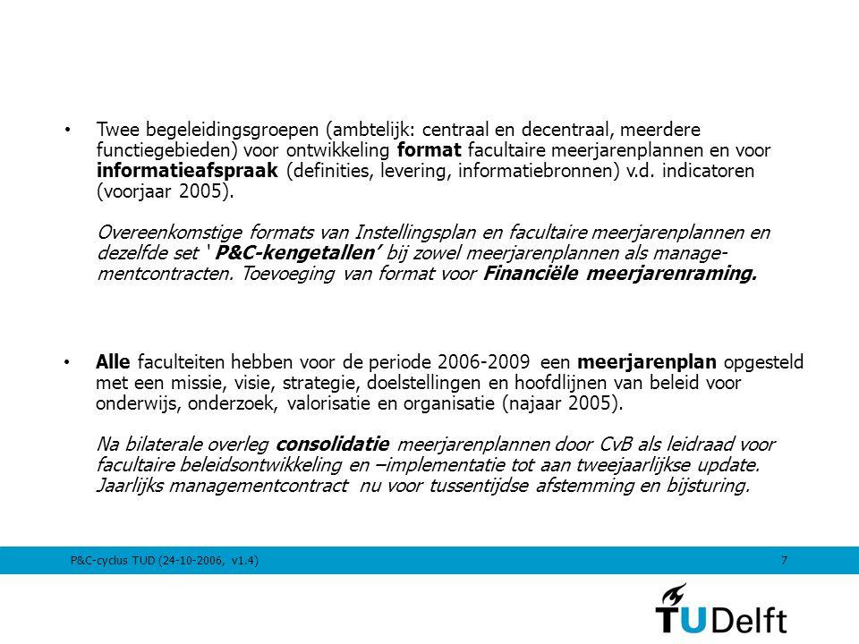 Twee begeleidingsgroepen (ambtelijk: centraal en decentraal, meerdere functiegebieden) voor ontwikkeling format facultaire meerjarenplannen en voor informatieafspraak (definities, levering, informatiebronnen) v.d. indicatoren (voorjaar 2005). Overeenkomstige formats van Instellingsplan en facultaire meerjarenplannen en dezelfde set ' P&C-kengetallen' bij zowel meerjarenplannen als manage-mentcontracten. Toevoeging van format voor Financiële meerjarenraming.