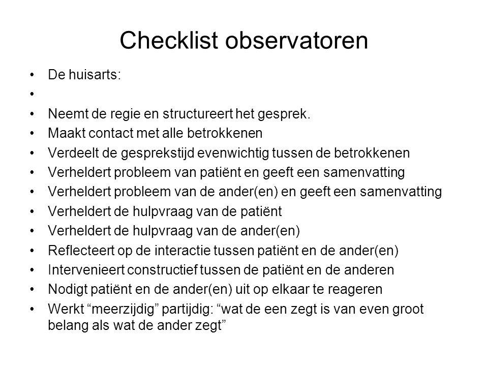 Checklist observatoren