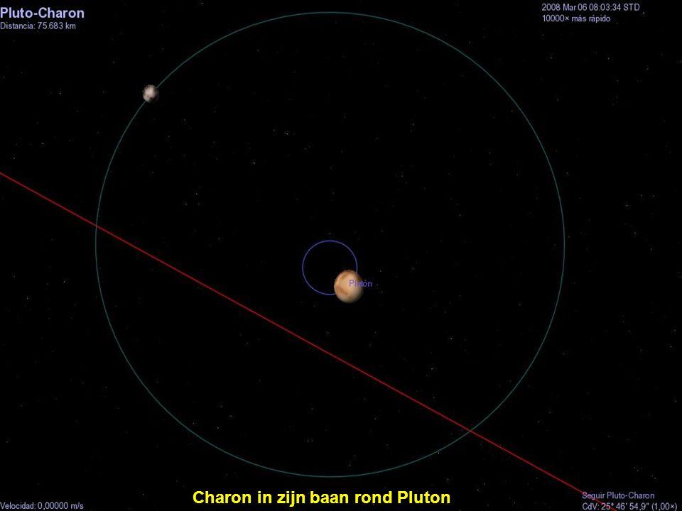 Charon in zijn baan rond Pluton