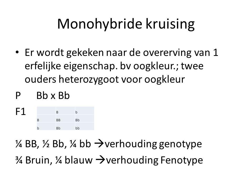 Monohybride kruising Er wordt gekeken naar de overerving van 1 erfelijke eigenschap. bv oogkleur.; twee ouders heterozygoot voor oogkleur.