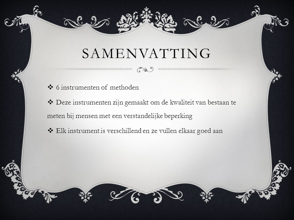 samenvatting 6 instrumenten of methoden