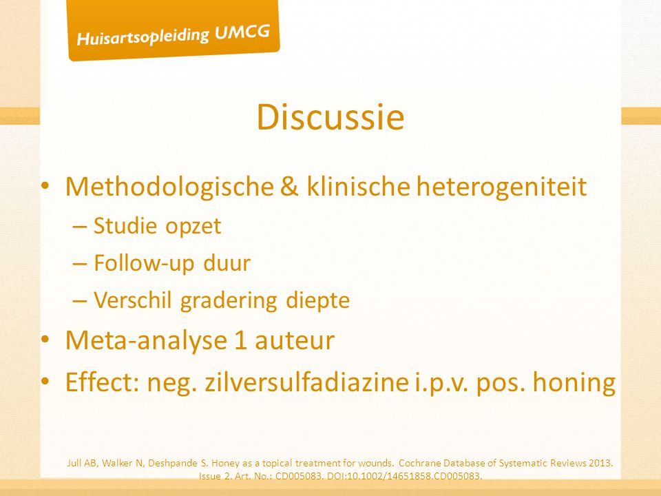 Discussie Methodologische & klinische heterogeniteit