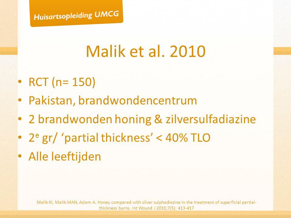 Malik et al. 2010 RCT (n= 150) Pakistan, brandwondencentrum