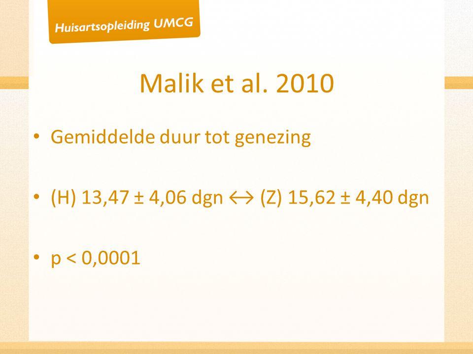 Malik et al. 2010 Gemiddelde duur tot genezing