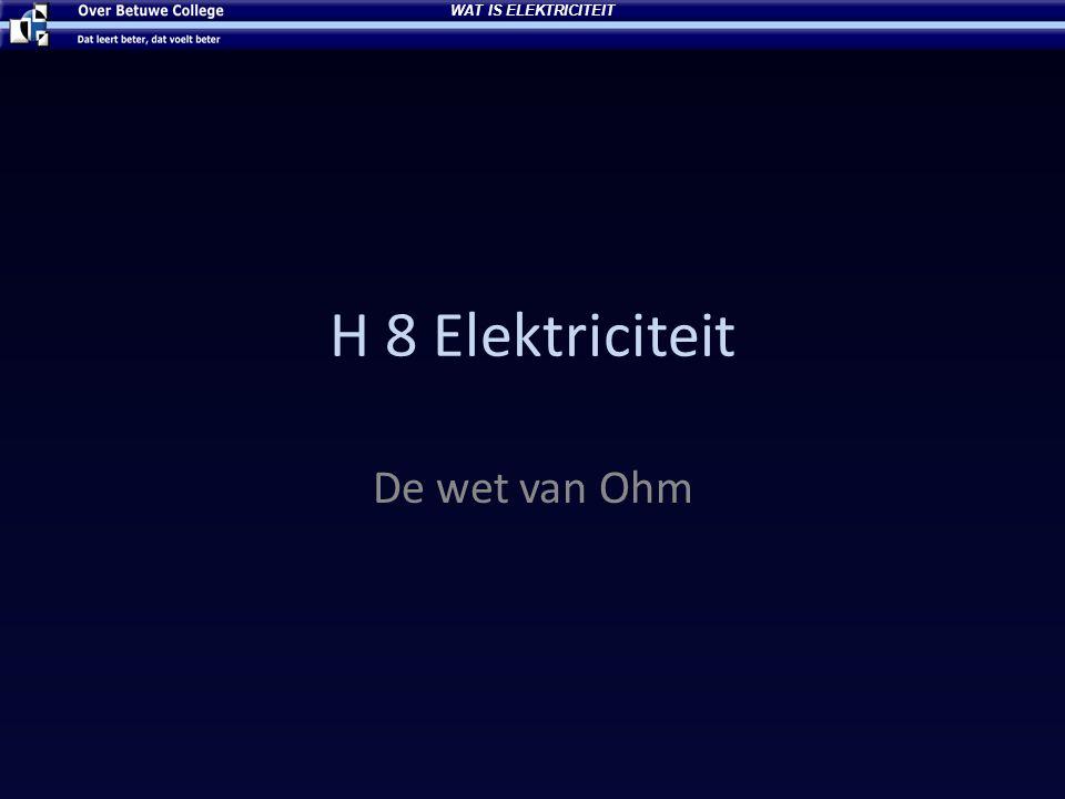 WAT IS ELEKTRICITEIT H 8 Elektriciteit De wet van Ohm